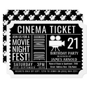 Movie Night Fest, Cinema Ticket, Birthday Party Invitation