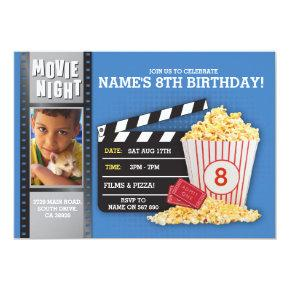 Movie Night Film Cinema Birthday Party Photo Invitation