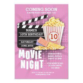 Movie Night Film Cinema Birthday Party Pink Invite