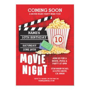 Movie Night Film Cinema Birthday Party Red Invite