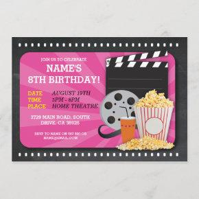 Movie Night Film Cinema Birthday Party View Invite