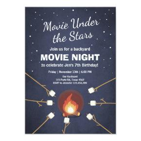 Movie Night Invitation Under the Stars Bonfire