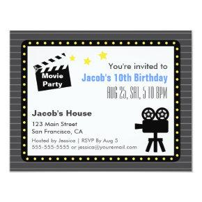 Movie Night Party, Birthday Party Invitation