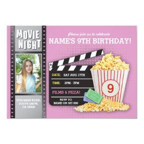Movie Night Pink Cinema Birthday Party Photo Invitation