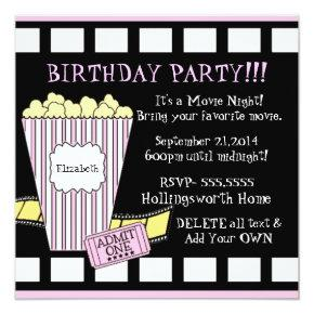 Movie Night Popcorn Film Strip Party In Pink Invitation