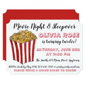 Movie Night Sleepover Popcorn Birthday Party Red Invitation