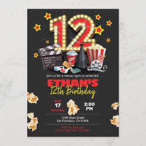 Movie night, Theater - 12th Birthday Invitation
