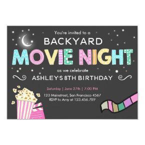 Movie Night Under the Stars Birthday Invitation