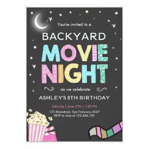 Movie Night Under the Stars Birthday Invitation