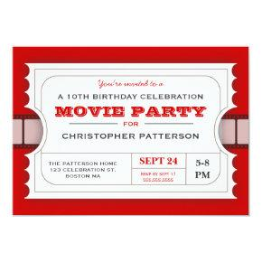 Movie Party Birthday Party Admission Ticket Invitations