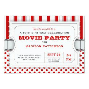 Movie Party Birthday Party Admission Ticket | Red Invitations