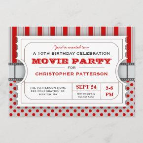 Movie Party Birthday Party Admission Ticket   Red Invitation