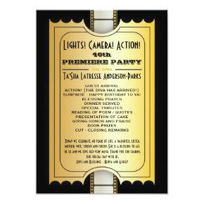 Movie Party Program Golden Admission Ticket