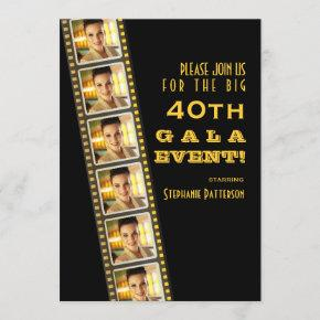 Movie Premiere Celebrity 40th Birthday Photo Gala Invitation