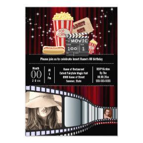 Movie theme 2 photo strip cinema popcorn party invitation