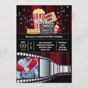 Movie theme photo strip cinema popcorn party invitation