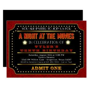 Movie Ticket Birthday Party Invitation