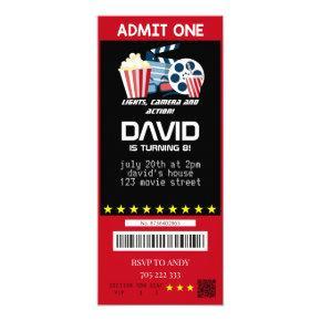 Movie Ticket Movie Party Boy Birthday Tickets Invitation