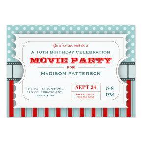 Movie Ticket Party Birthday Party Admission Ticket Invitation