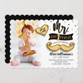 Mr One derful Gold Foil Balloon 1st Birthday Photo Invitation