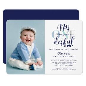 Mr One derful Navy & Blue 1st Birthday Photo Invitation