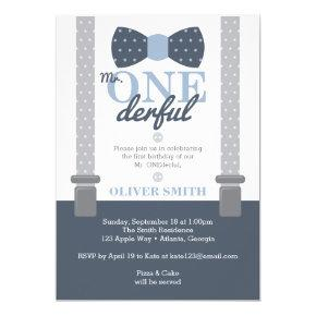 Mr. ONEderf Birthday Party Invitations, Bow Tie Invitations