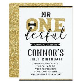 Mr Onederful 1st Birthday Invitation