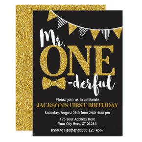 Mr. ONEderful Birthday Invitations | Black and Gold