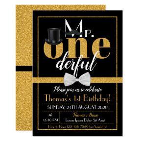 Mr. Onederful Birthday Invitation Black & Gold