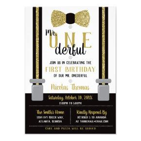 Mr. ONEderful Birthday Invitation, Black, Gold Invitation