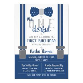 Mr. ONEderful Birthday Invitations, Blue, Gray Invitations