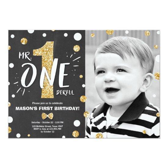 Mr onederful birthday invitation Boy Black Gold
