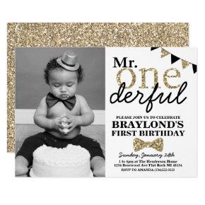Mr Onederful Black and Gold First Birthday Photo Invitation