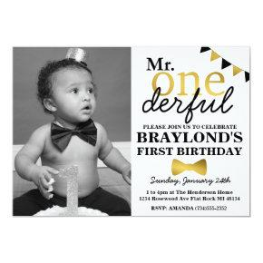 Mr Onederful Black and Gold Invitations with Photo
