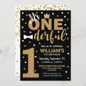 Mr Onederful Invitation Black and Gold