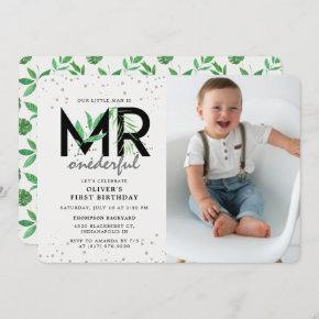 MR Onederful Modern Tropical 1st Birthday Photo Invitation