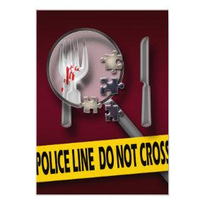 Murder mystery burgundy crime birthday Invitations