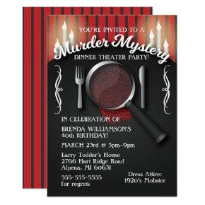 Murder Mystery Dinner Theater Party Invitations