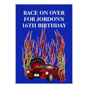 Muscle Car Birthday Party Invitations Candied Clouds
