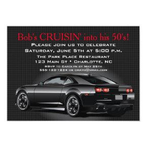 Muscle Car Mens Adult Birthday Party Invitations