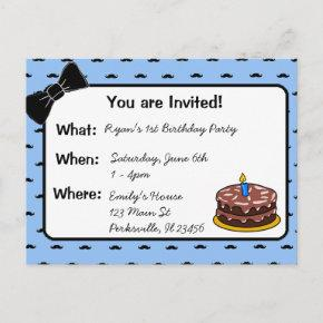 Mustache and Bow tie 1st Birthday Invitation
