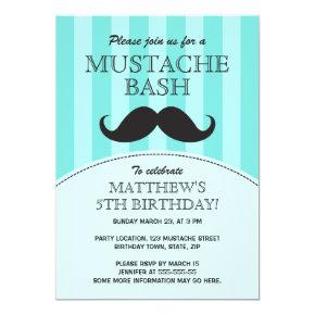Mustache bash birthday party invitation, aqua card