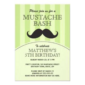 Mustache bash birthday party Invitations, green Invitations