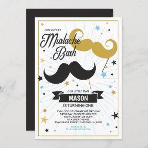 Mustache Bash Boy Birthday Party Faux Glitter Invitation