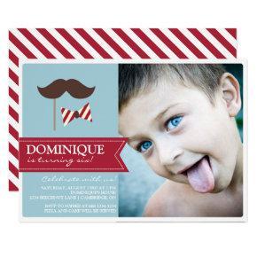 Mustache & Bow Tie Photo Birthday Party Invitation