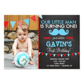 Mustache First Birthday Invitations