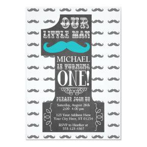Mustache First Birthday Invitations with Envelopes