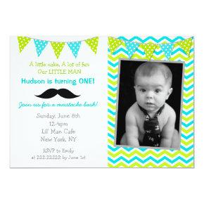 Mustache Little Man Birthday Invitations