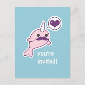 Mustache Narwhal Kids Birthday Party