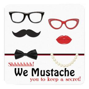 Mustache Surprise Birthday Party Invitation